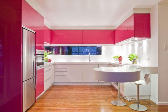mobilier cuisine rose contemporain