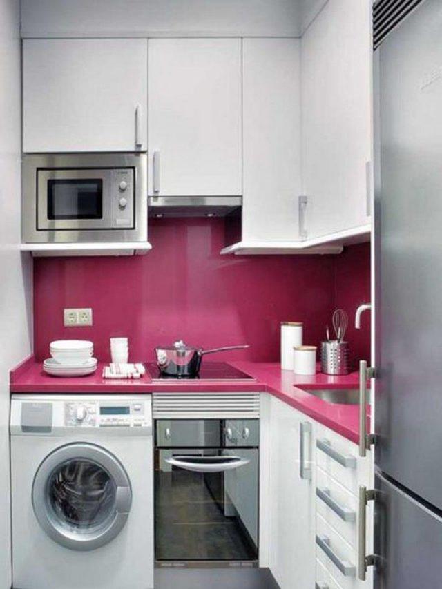 petite cuisine decoration blanc et rose