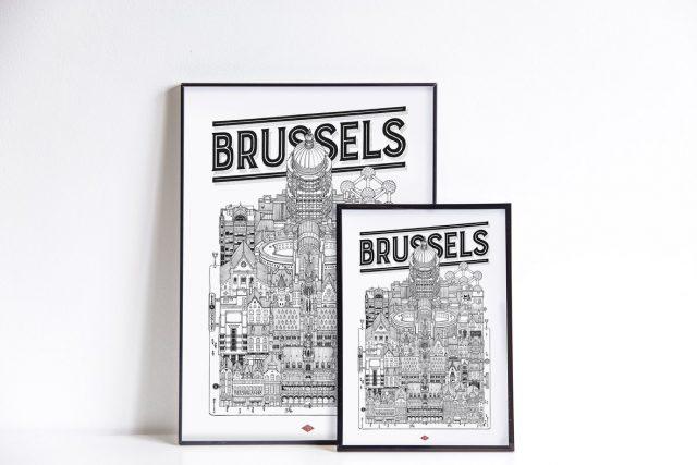 affiche deco bruxelles voyage graphique
