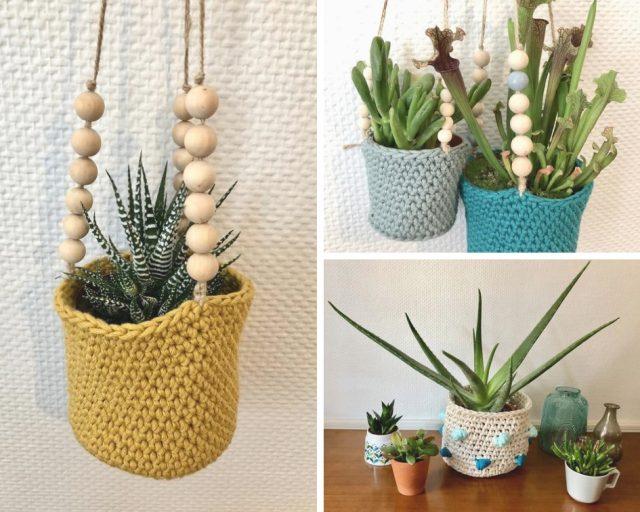 cache pot suspendu deco plante handmade