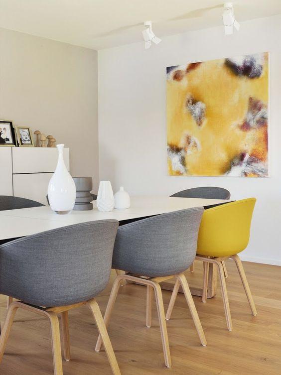 chaises fauteuil salle a manger gris et jaune