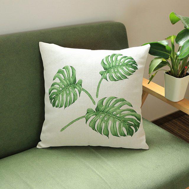 coussin deco plante verte tropicale