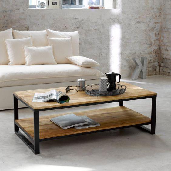 deco industrielle table basse rectangulaire