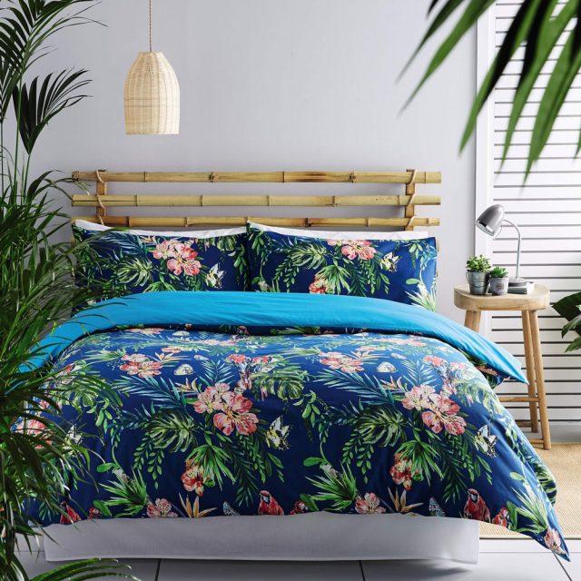 decoration chambre exotique drap housse de couette
