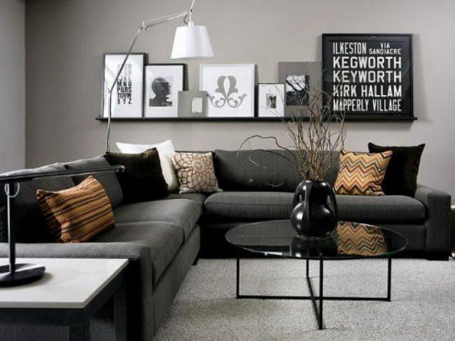 decoration salon noir gris blanc
