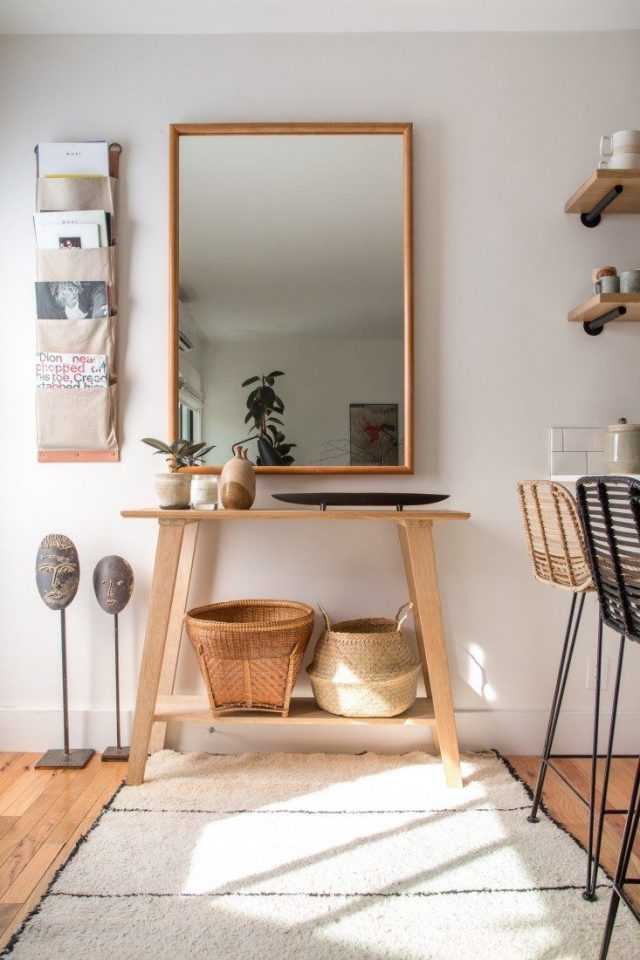 entree minimaliste deco chaleureuse bois