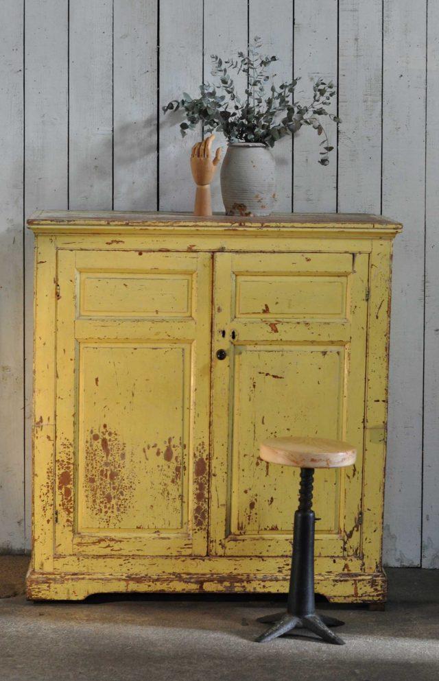 meuble deco patine jaune