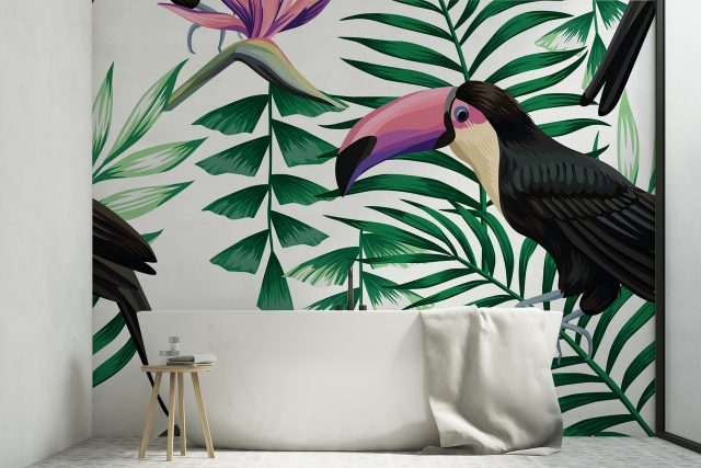 papier peint plante tropicale salle de bain