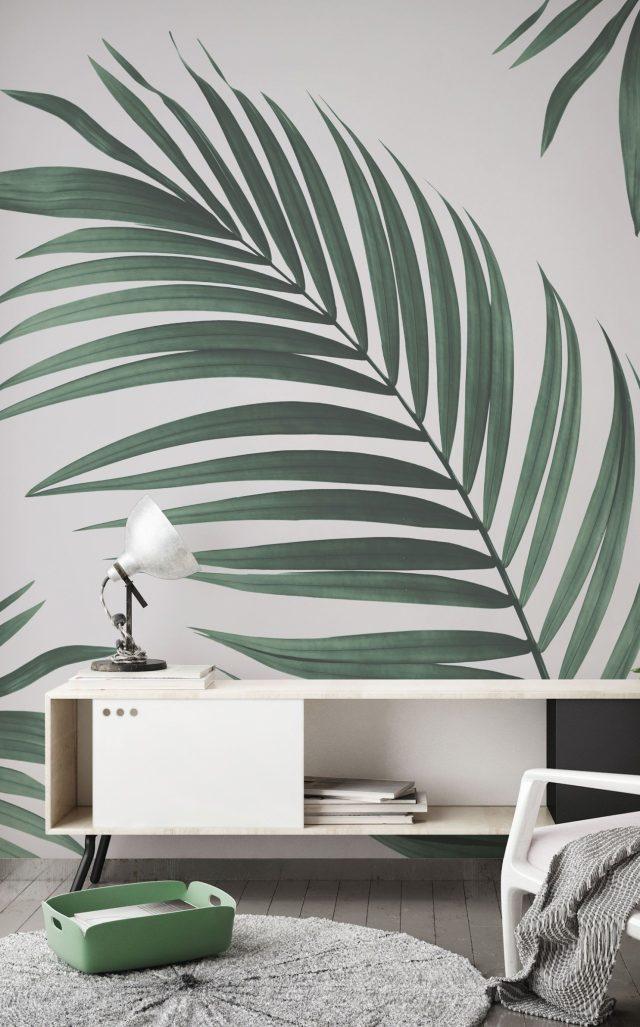 papier peint tropical blanc et vert raffiné