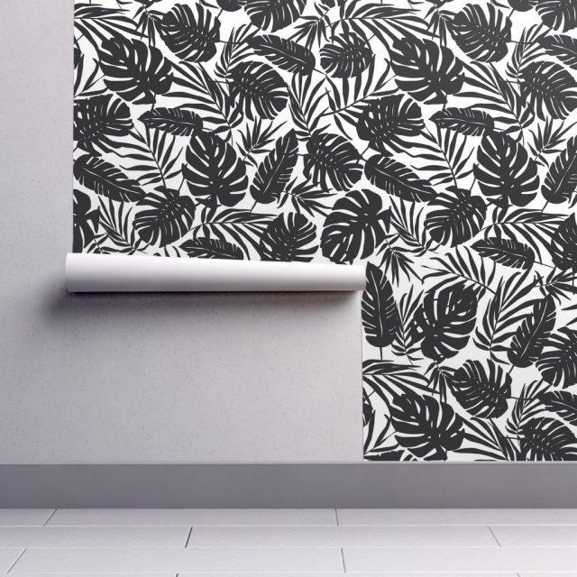 papier peint tropical noir et blanc