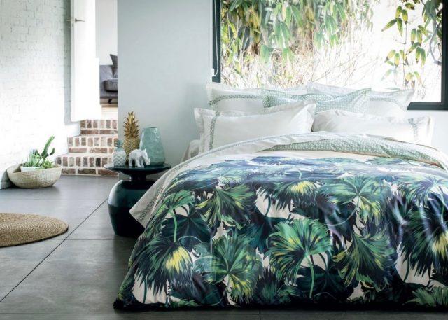 parure de lit imprimee deco tropicale