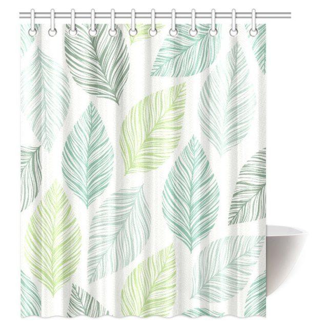 rideau douche motif plante deco tropicale salle de bain