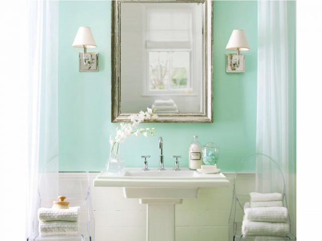 salle de bain vert amande peinture