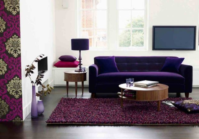 deco salon canape violet contemporain