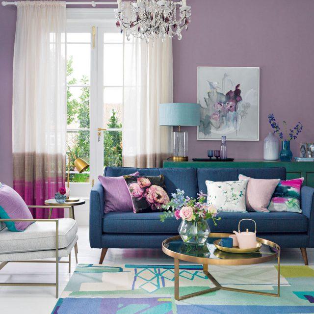 Decoration Fraiche Salon Violet Parme Couleur