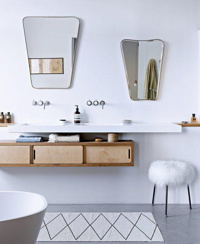decoration salle de bain minimaliste blanc et bois