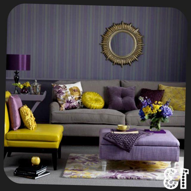 decoration salon detail accessoires violet