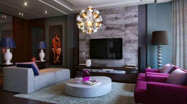 decoration salon violet rose gris