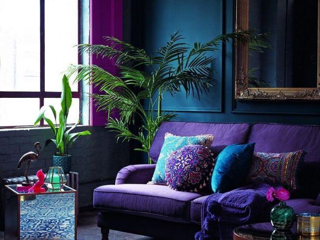 idee couleur salon violet et bleu tendance