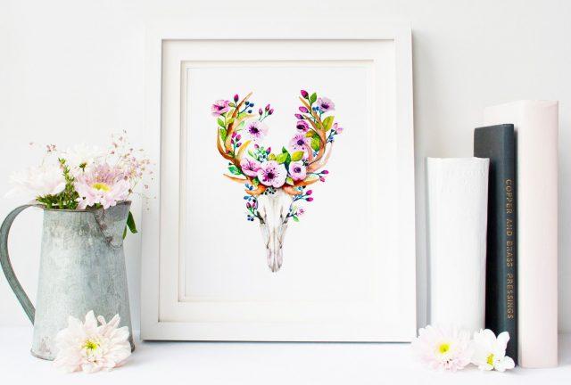 affiche deco tete de zebu fleurs