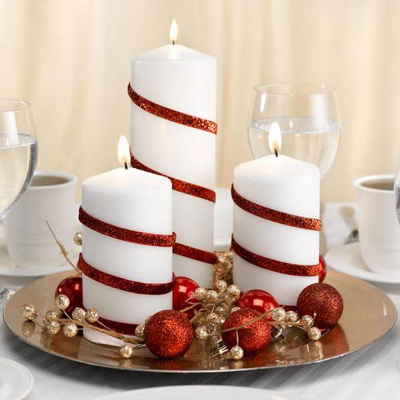 bougies deco noel blanc rouge classique