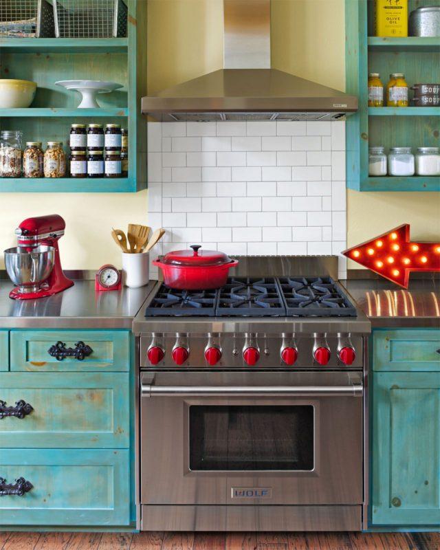 deco bleu rouge cuisine