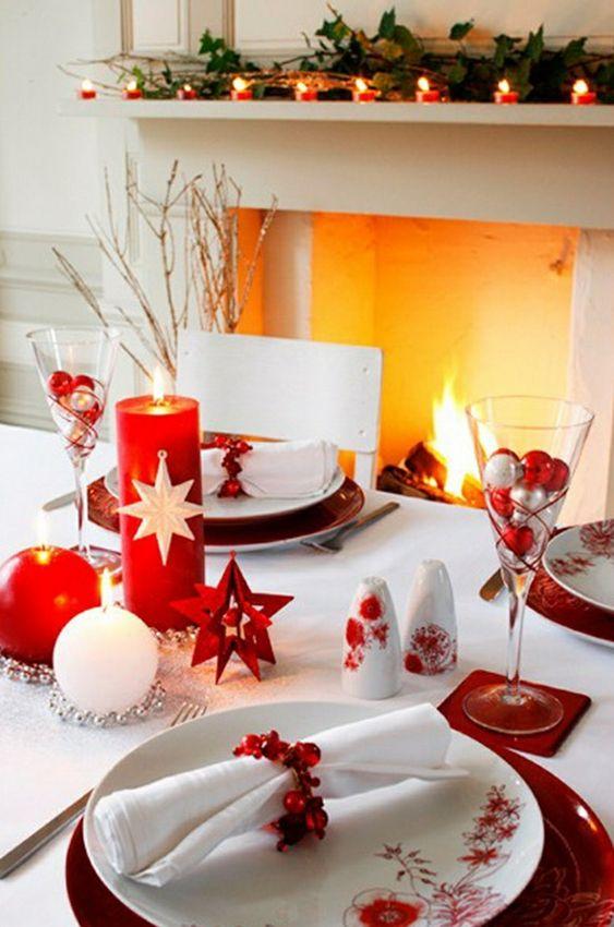 deco de table blanc et rouge noel
