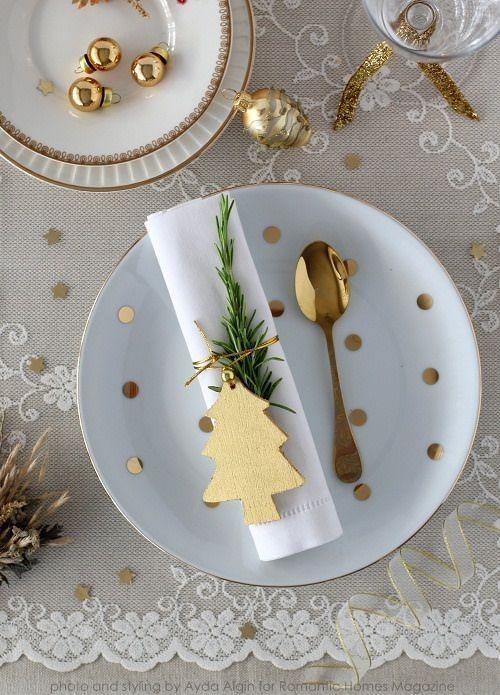 deco de table or et blanc fete fin annee
