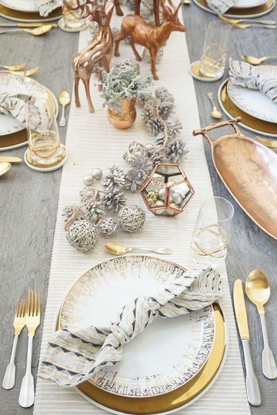 deco noel table or blanc idee