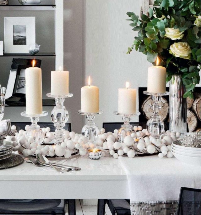 deco table noel bougies lumiere