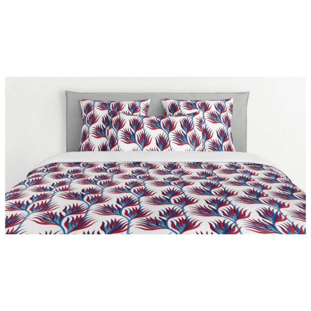 parure de lit blanc rouge bleu