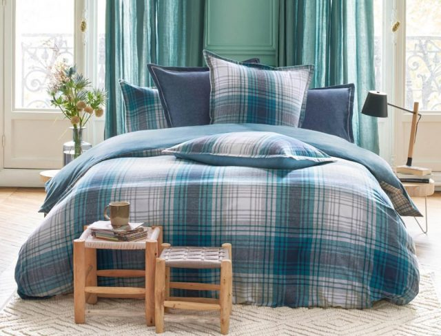 parure de lit bleu carreau classique