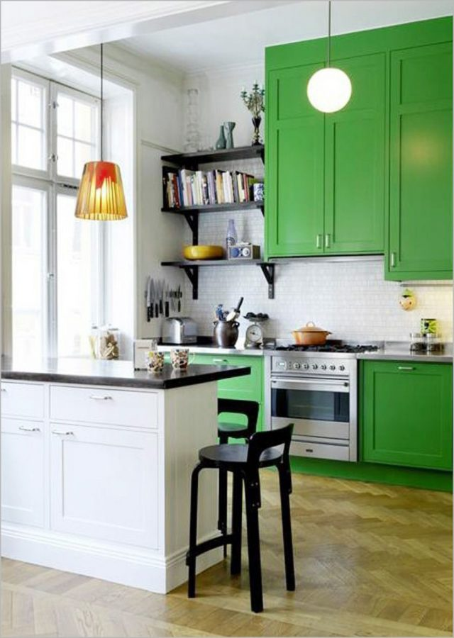 peinture vert mobilier cuisine