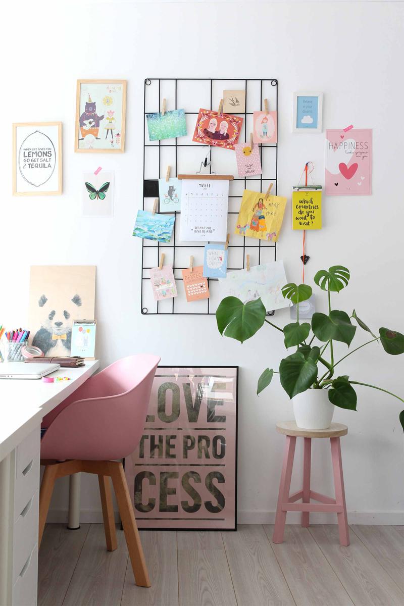 bureau deco rose blanc plantes interieur