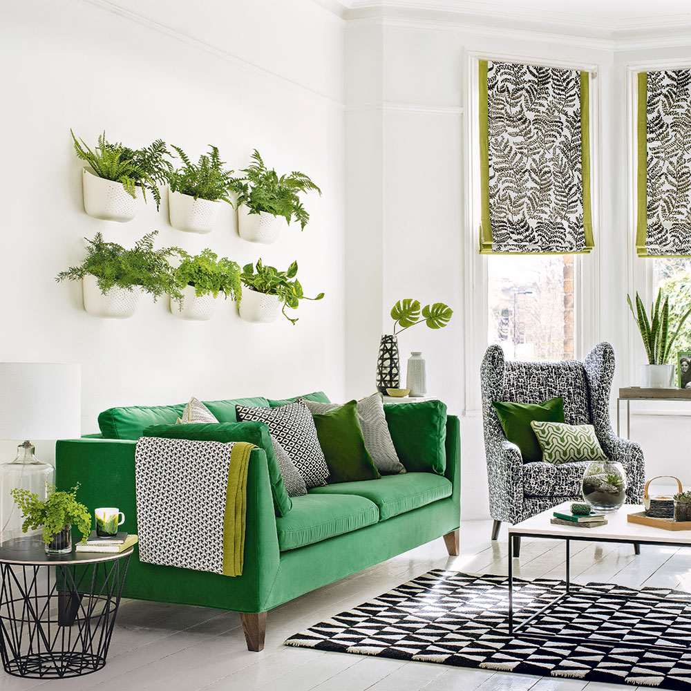 canape vert deco vegetale salon