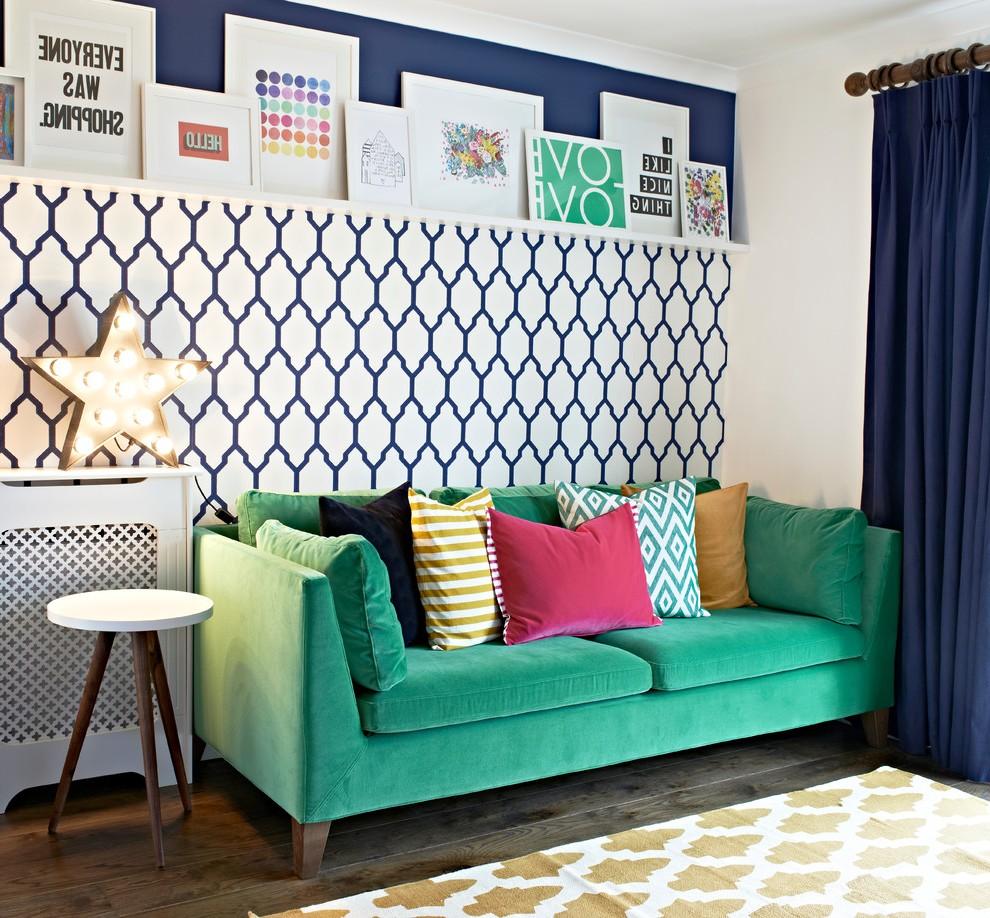 canape vert salon blanc et bleu