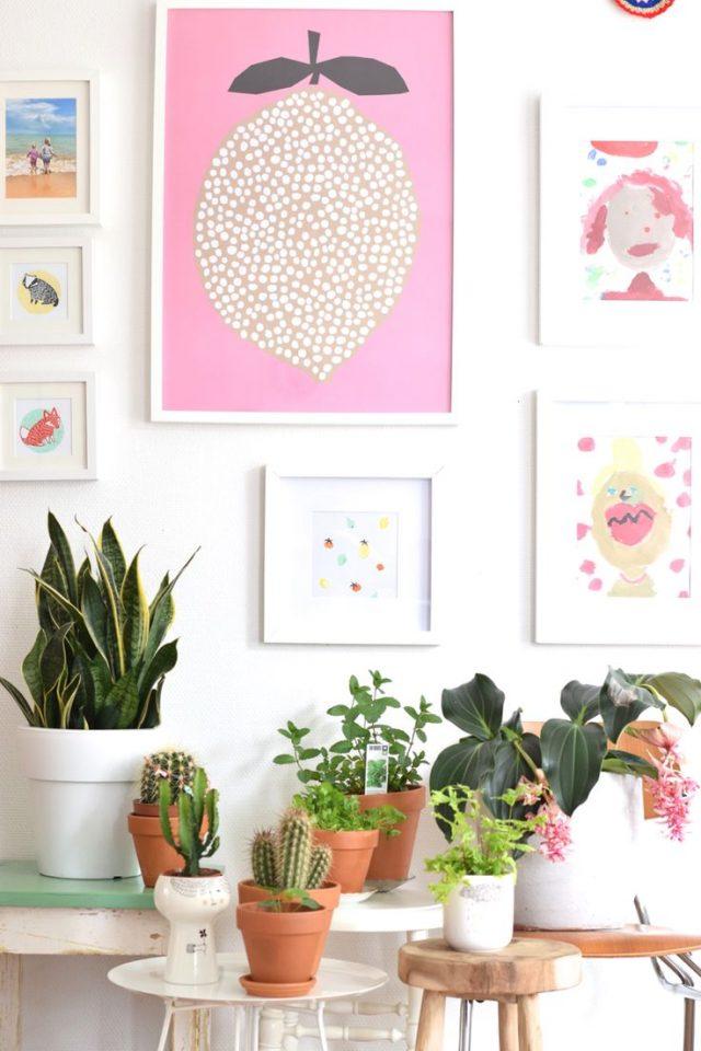 deco murale rose et plantes interieur cadre affiche illustration moderne plantes posées sur meubles