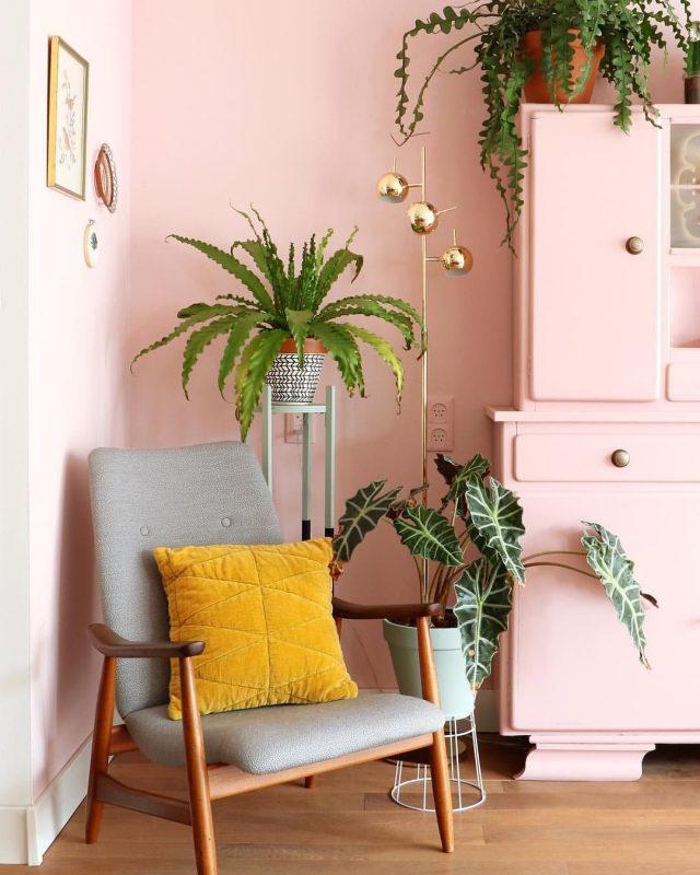 deco retro rose et plante verte fauteuil années 50 mid century mur peinture rose vaisselier récup peint en rose pastel et plantes pour contraste