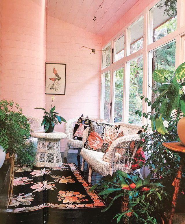 decoration retro rose et plante jardin hiver grande fenêtre baclon fermé pergola canapé peinture murale rose