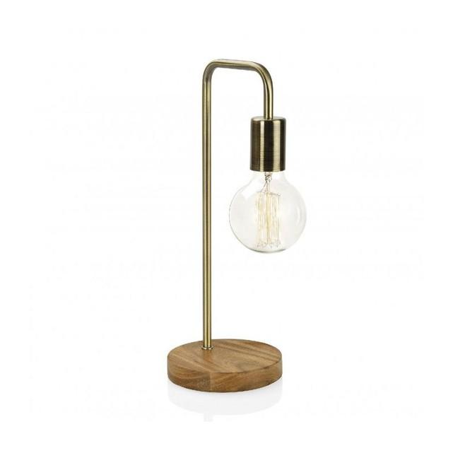 lampe laiton et bois minimaliste