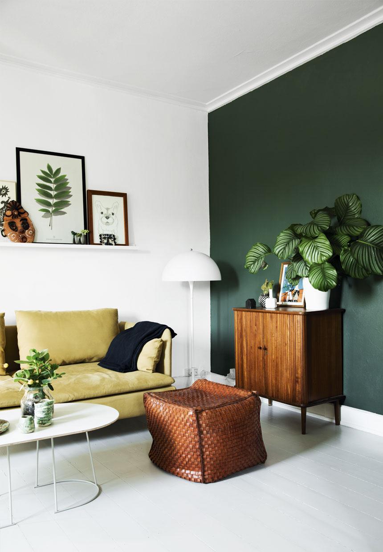 mur vert fonce deco salon