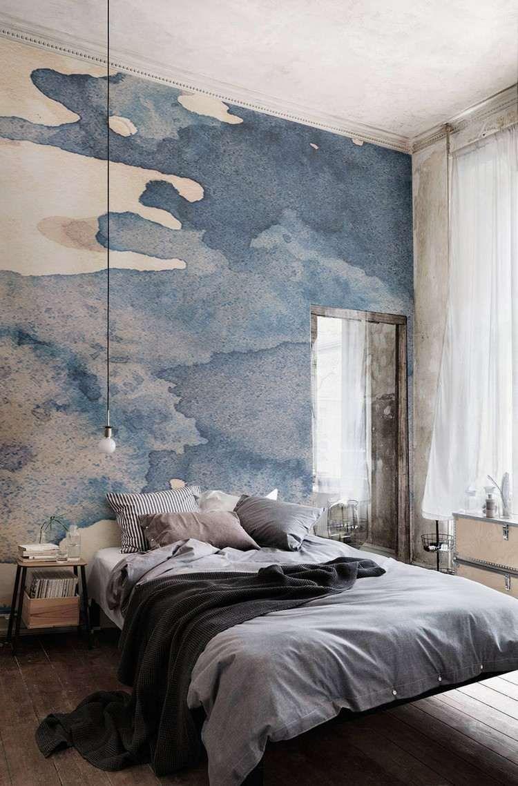 papier peint bleu tendance