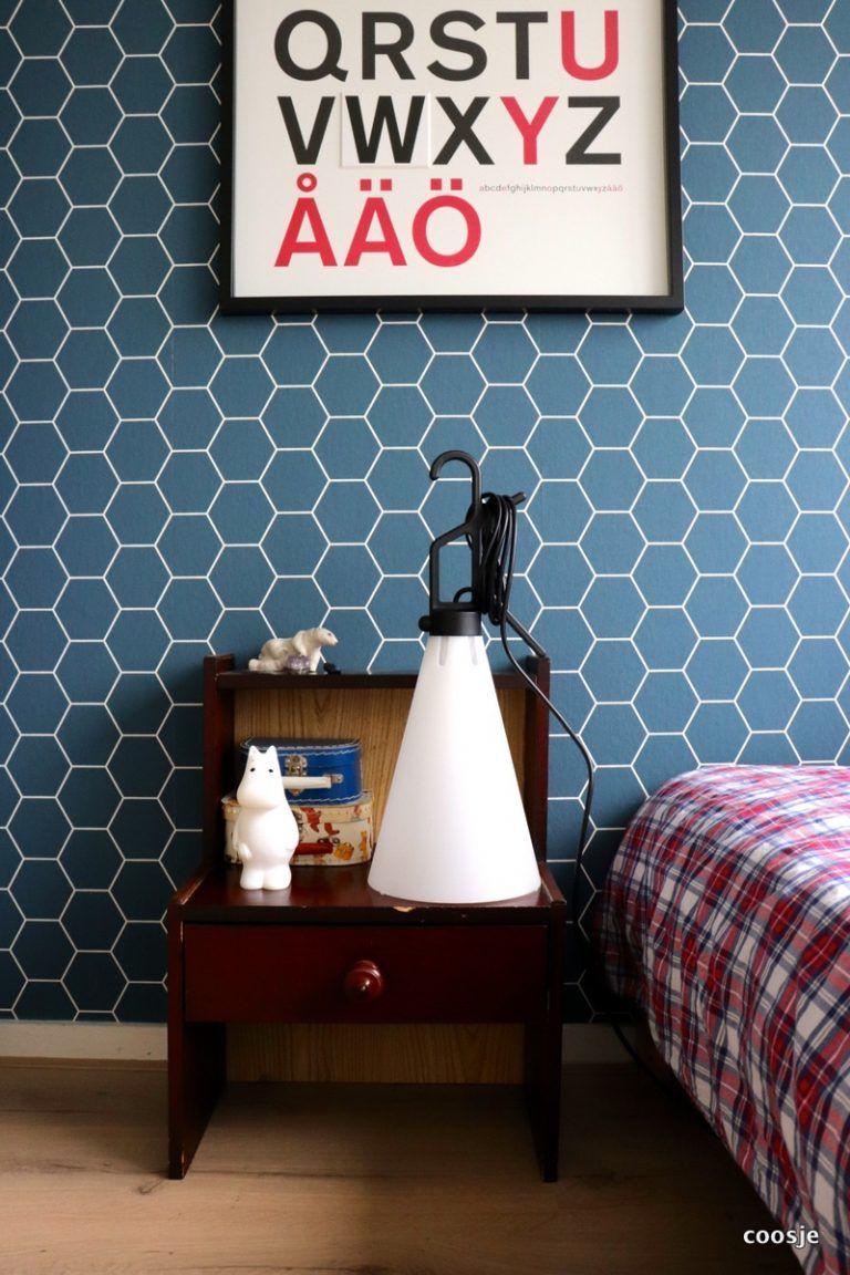 papier peint deco bleu motif nid abeille