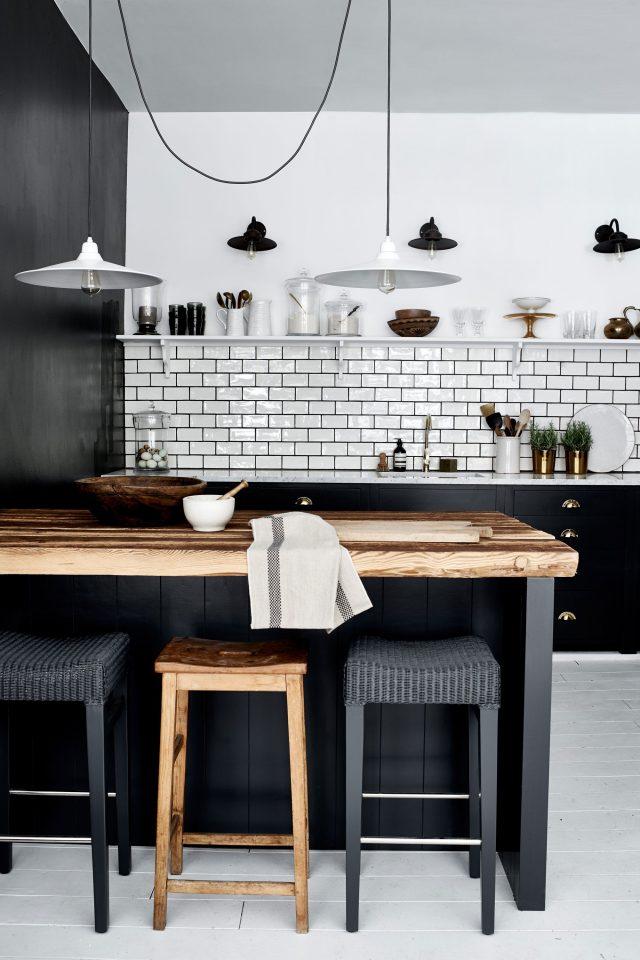 cuisine bois carrelage blanc noir