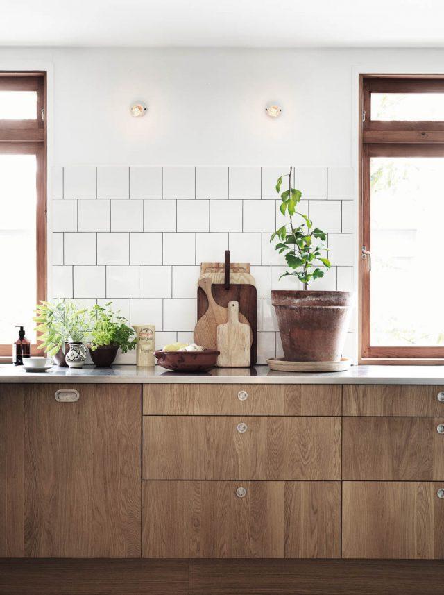 cuisine bois credence blanche carrelage