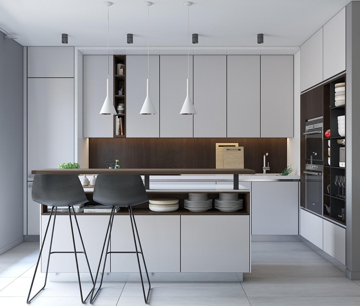 cuisine minimaliste blanche design contemporain