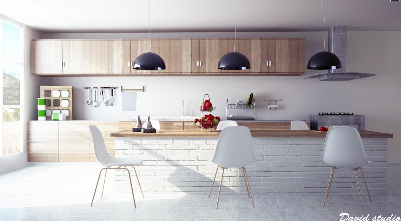 deco cuisine bois mobilier contemporain