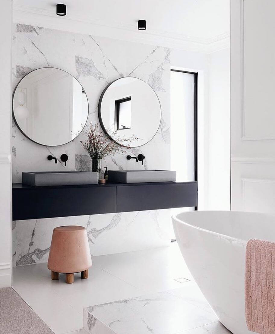 salle de bain deco miroir rond double