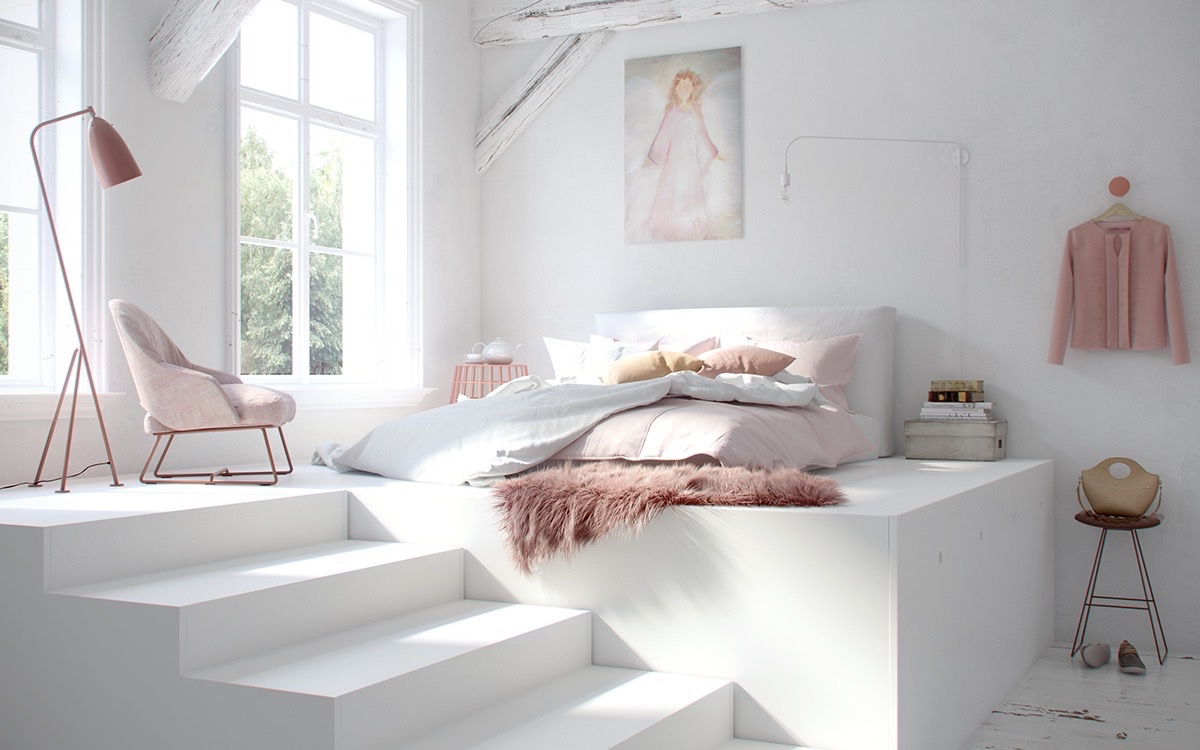 chambre enfant minimaliste lit estrade
