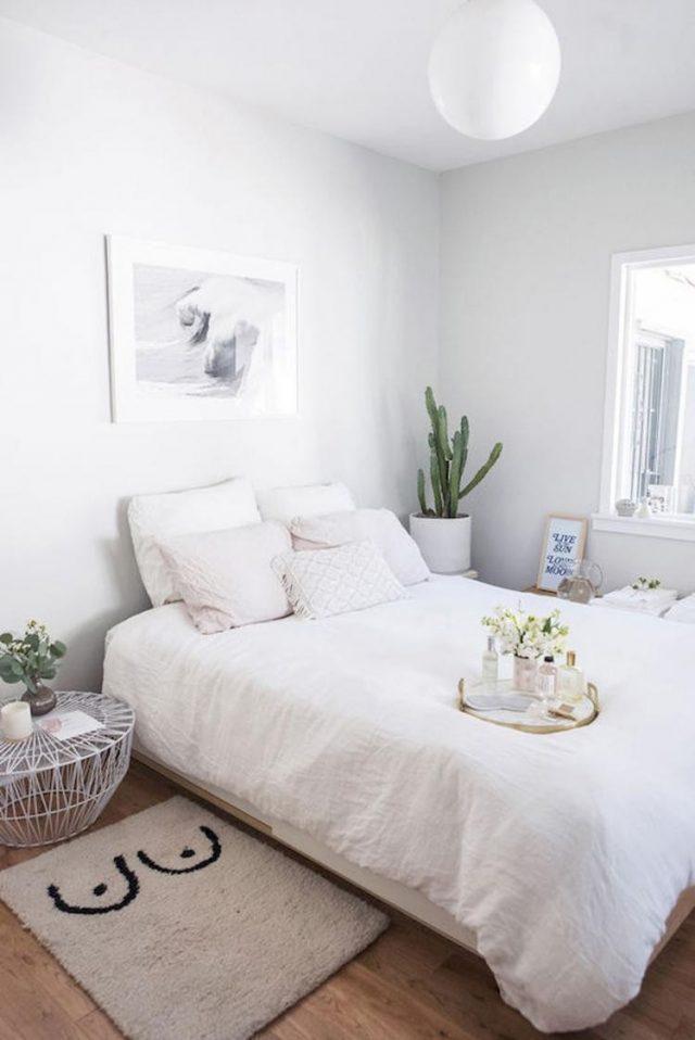 decoration chambre minimaliste blanche style épuré et moderne